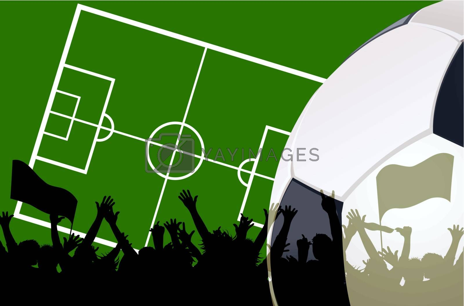 illustration of a soccer field and fans with copyspace