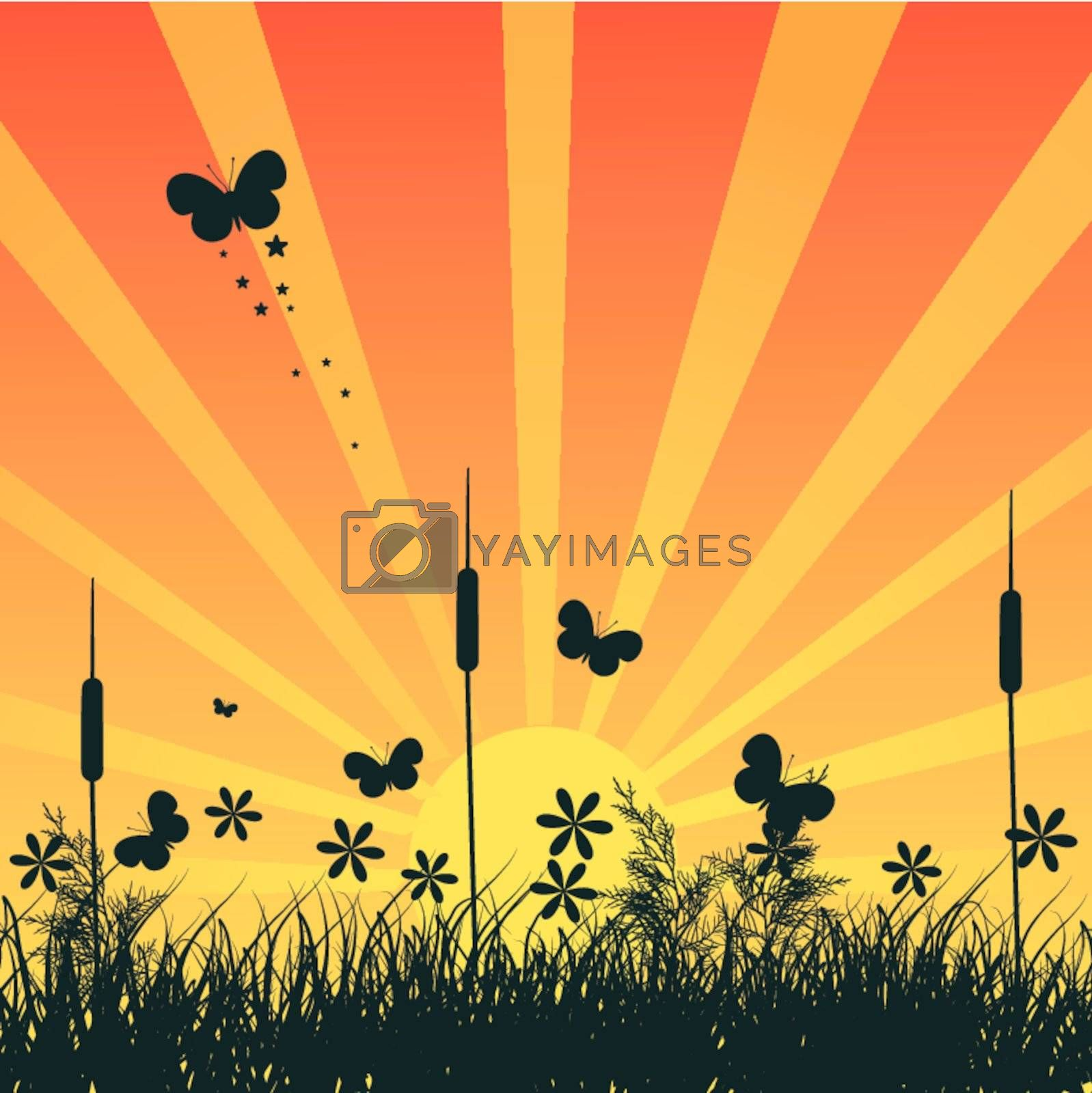 Grass silhouette on meadow EPS 10 vector file included