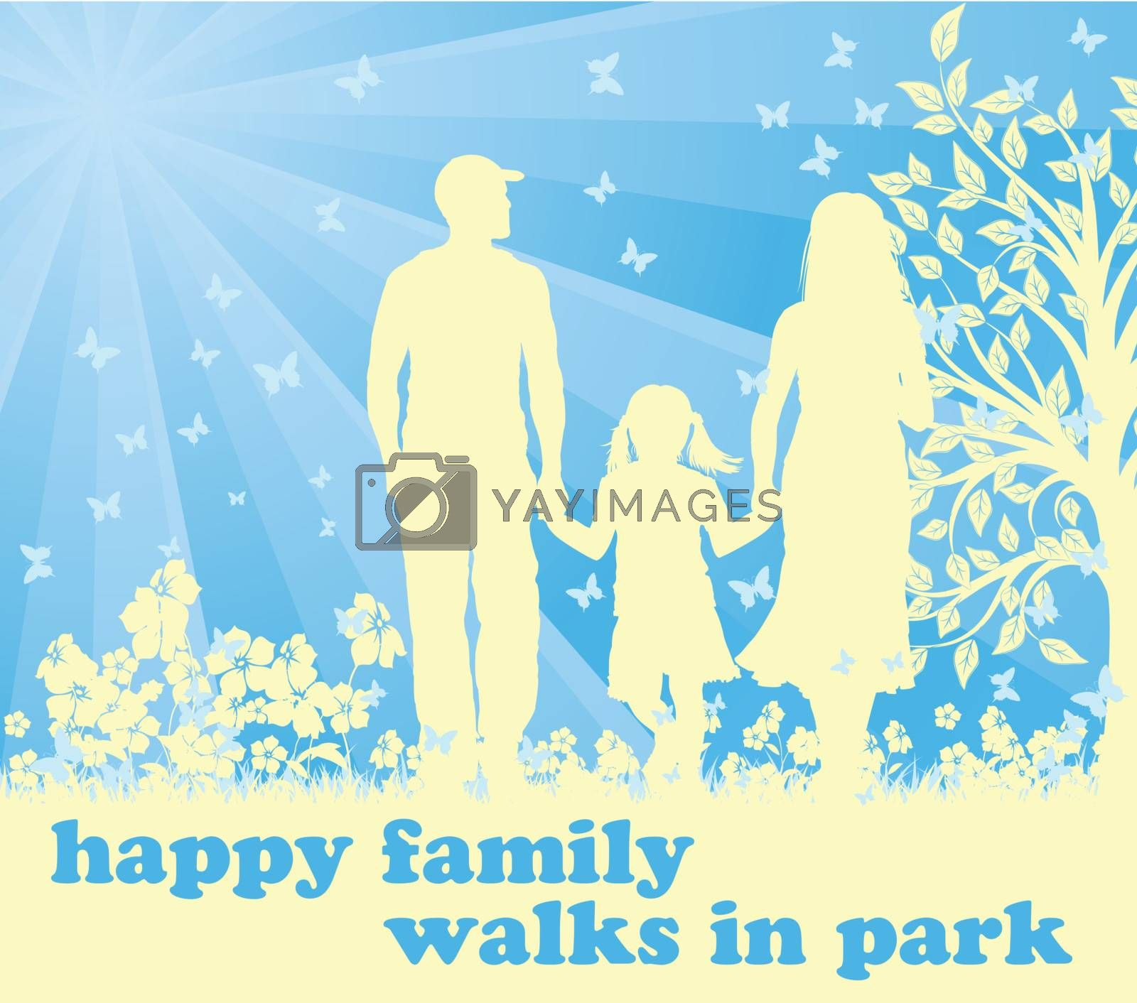 family silhouette walk on park EPS 10 vector file included