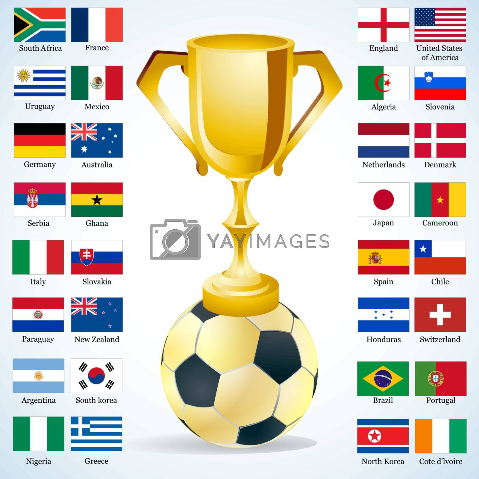 Football sign with champion cup on golden soccer ball with Nation Flags