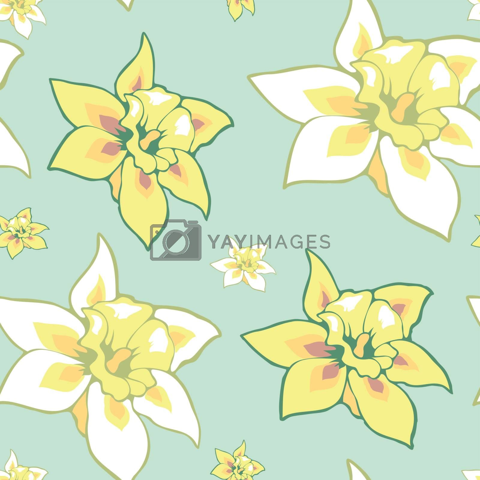 Seamless vector retro pattern with flowers  EPS 10 vector file included