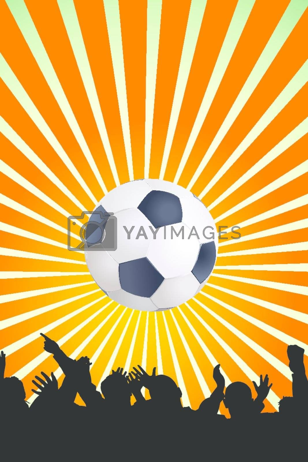 Soccer ball with black silhouettes of sport fans. Vector Football background with space for text.