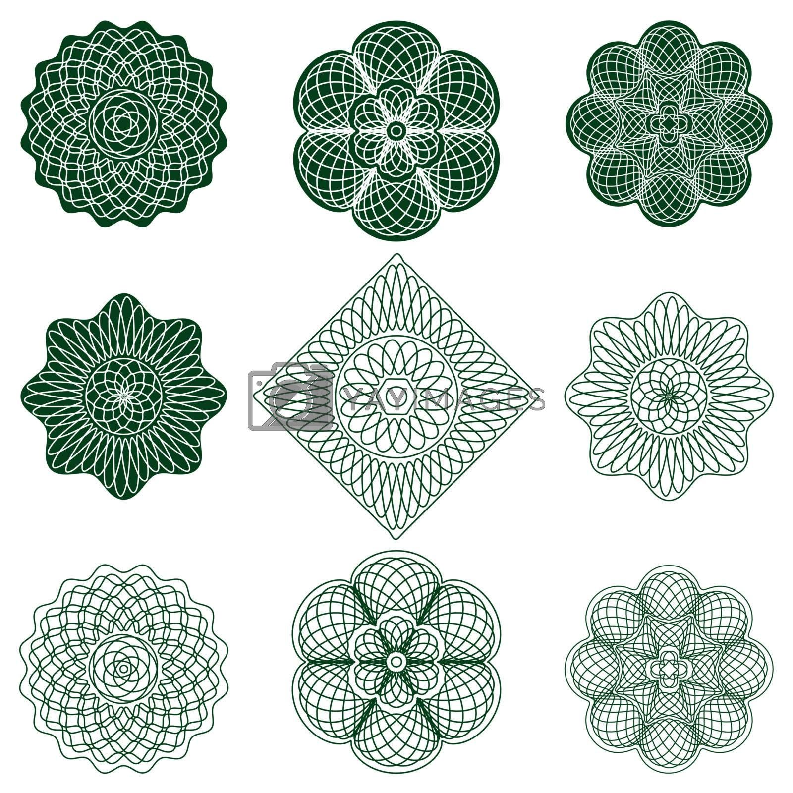 guilloche rosette, vector pattern for currency, certificate or diplomas