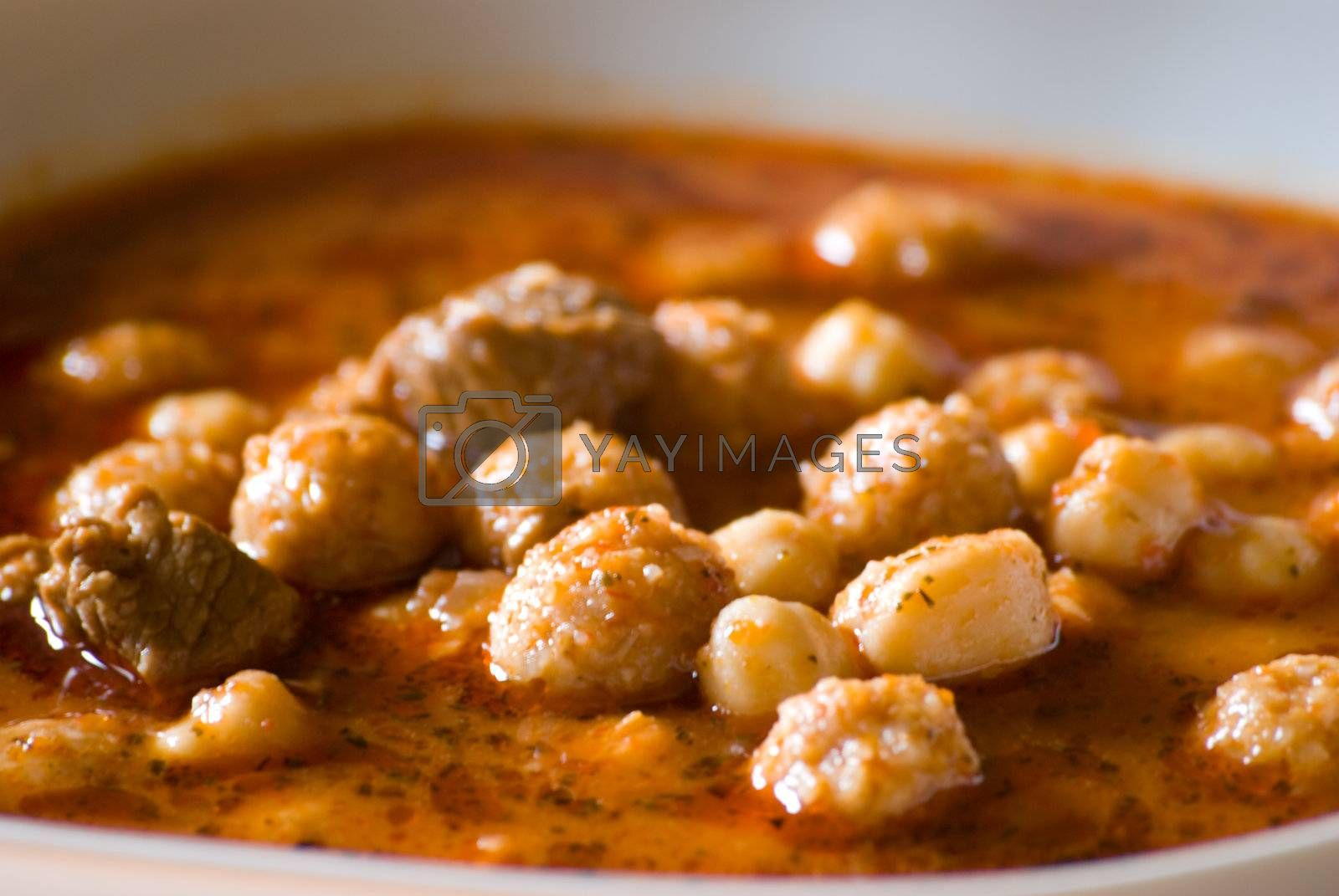 Lamb Meatballs Stewed with Chickpeas by dellium