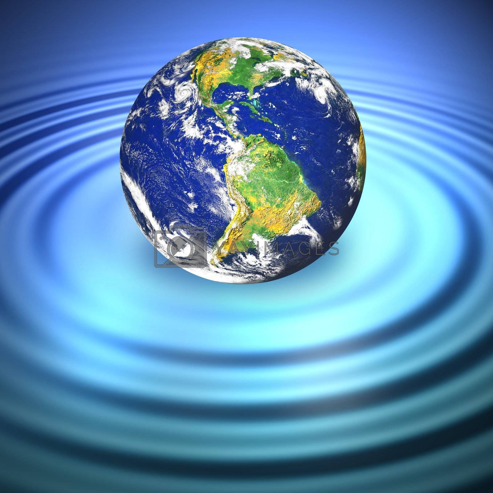 Our planet Earth floating in blue water with ripples.  Great to illustrate a variety of concepts. Earth photo courtesy of NASA.