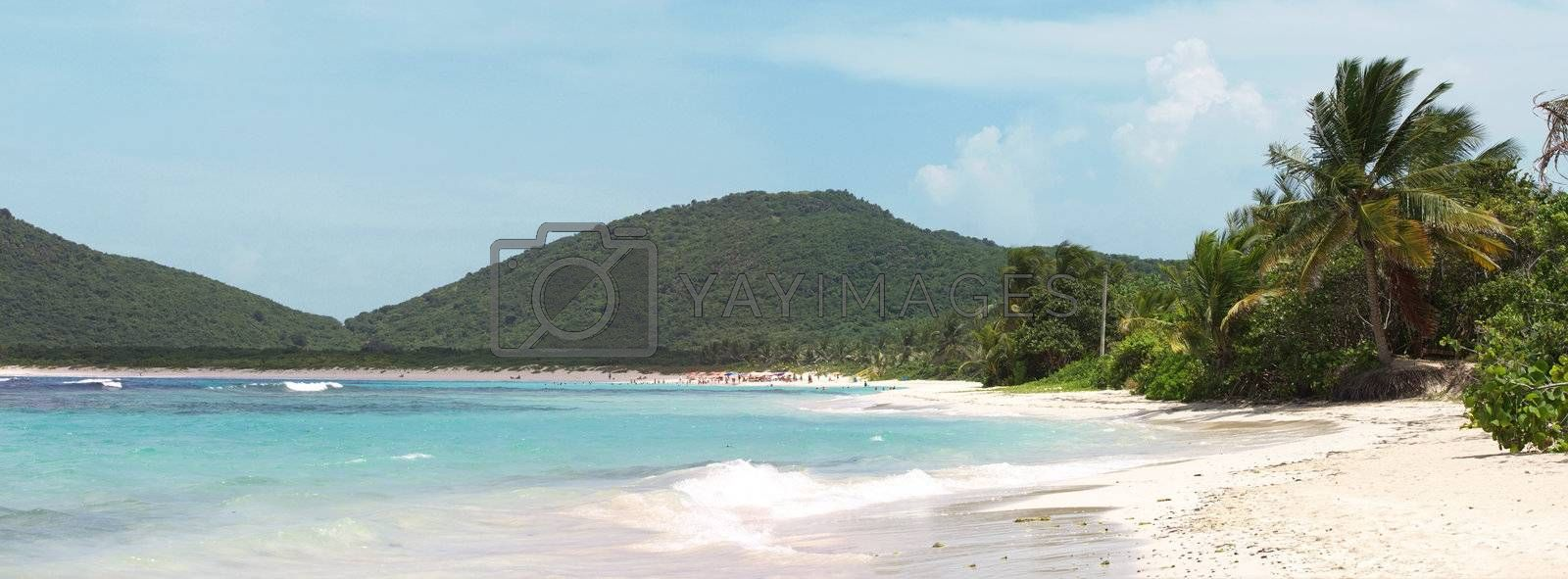 The amazing clear blue Caribbean water and white sands of Flamenco beach on the Puerto Rican island of Culebra.
