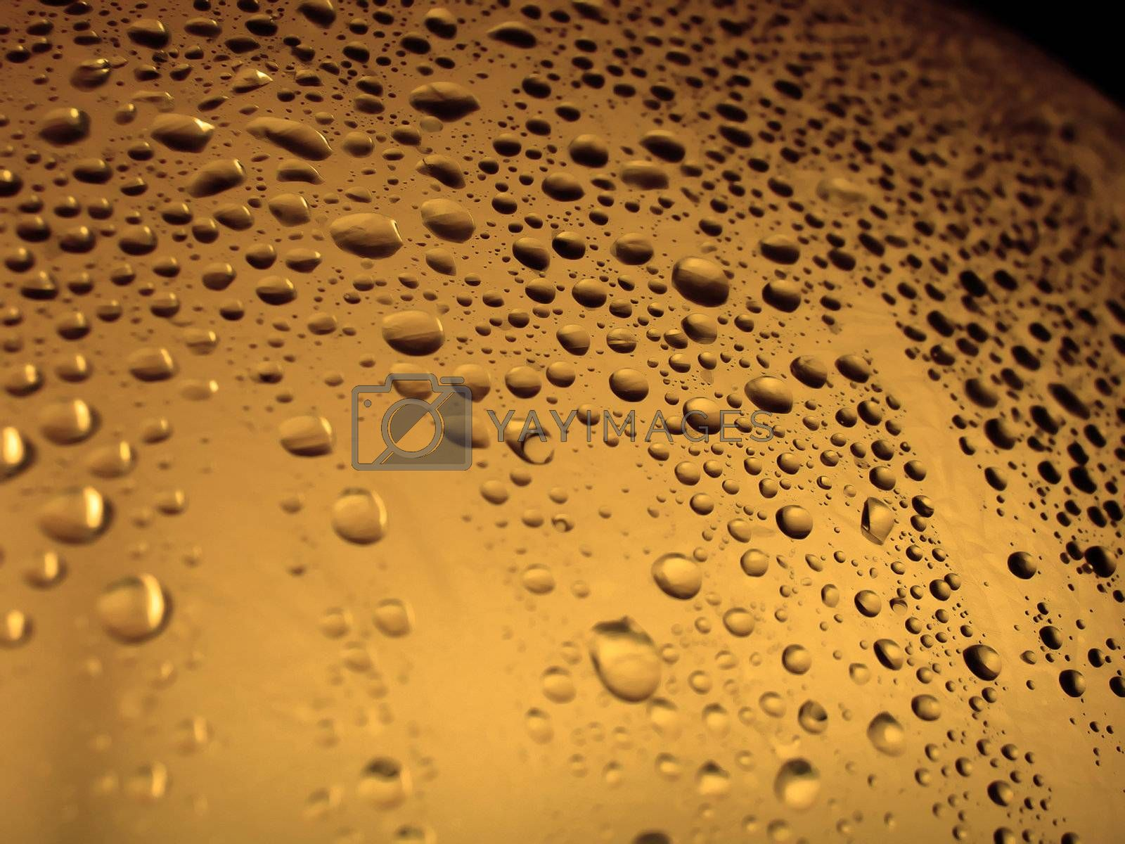 Water droplets on a plastic surface with a orange tone.