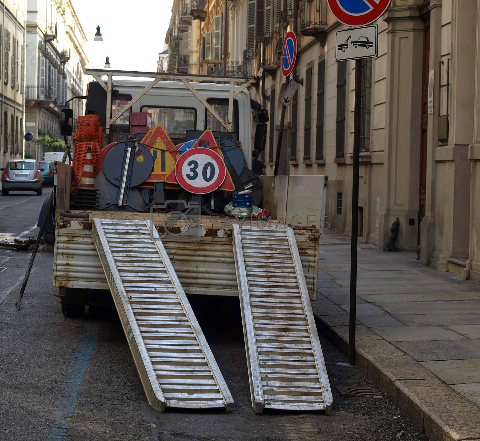 Royalty free image of Roadworks signs by claudiodivizia