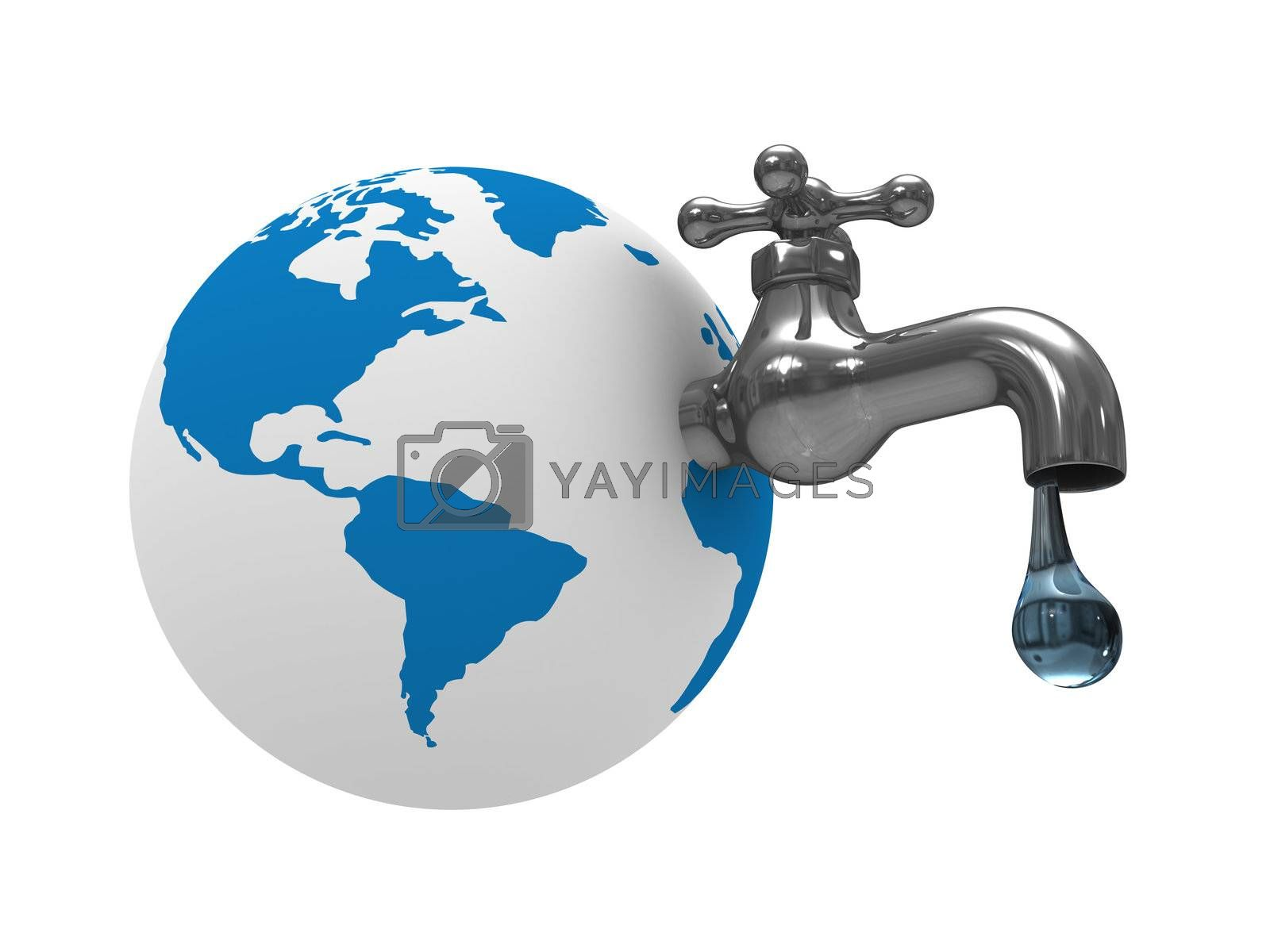 Royalty free image of Water stocks on earth. Isolated 3D image by ISerg