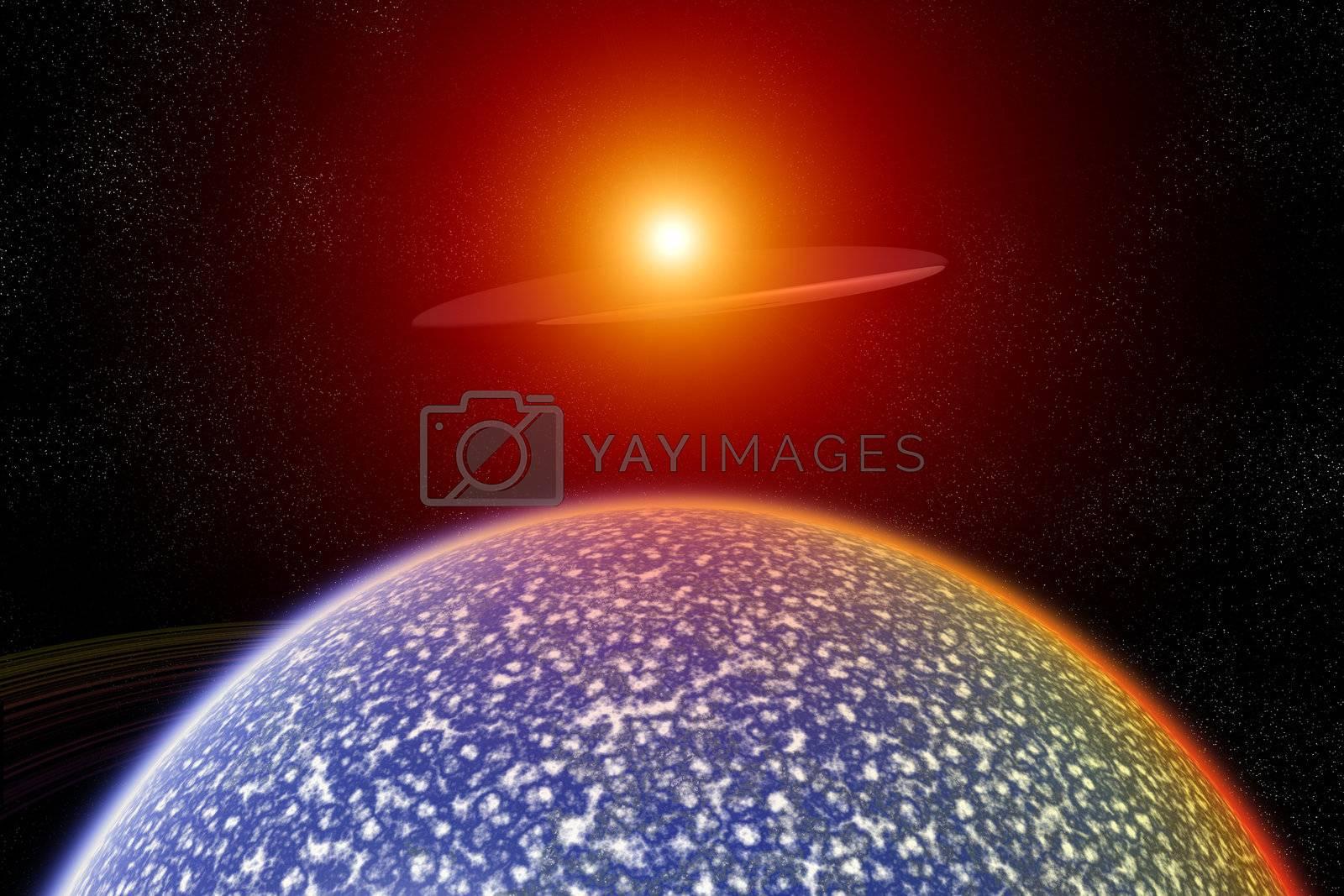 Royalty free image of UFO Over Alien World by harveysart