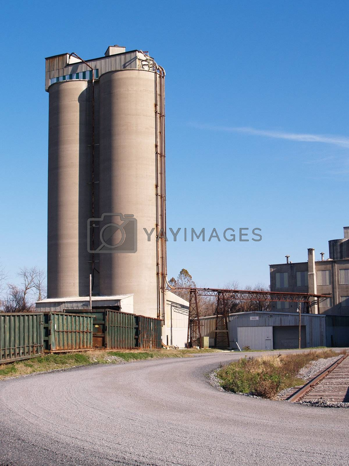 storage towers at an industrial site