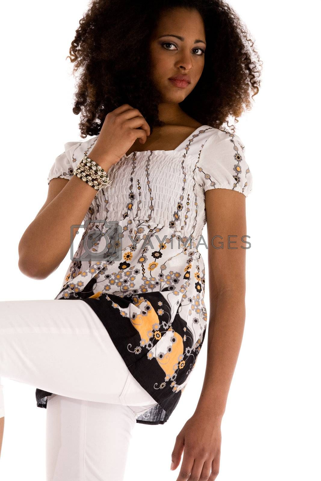 African girl in the studio with a fashion attitude