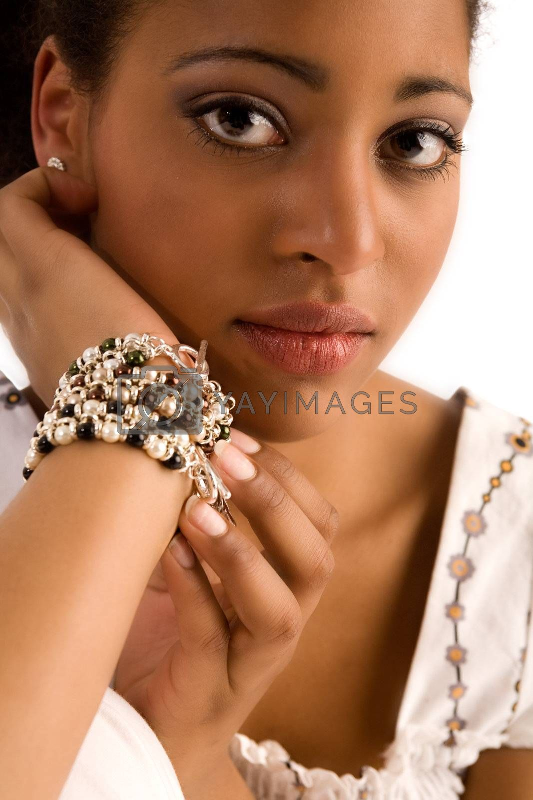 African girl with her gem in the studio