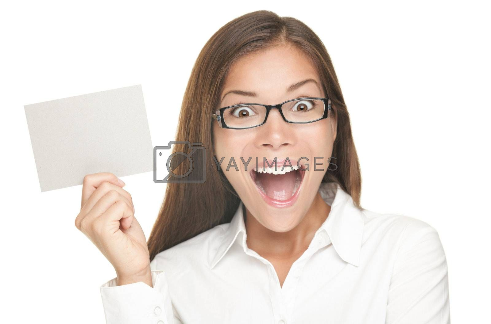 Royalty free image of Blank sign woman excited by Maridav