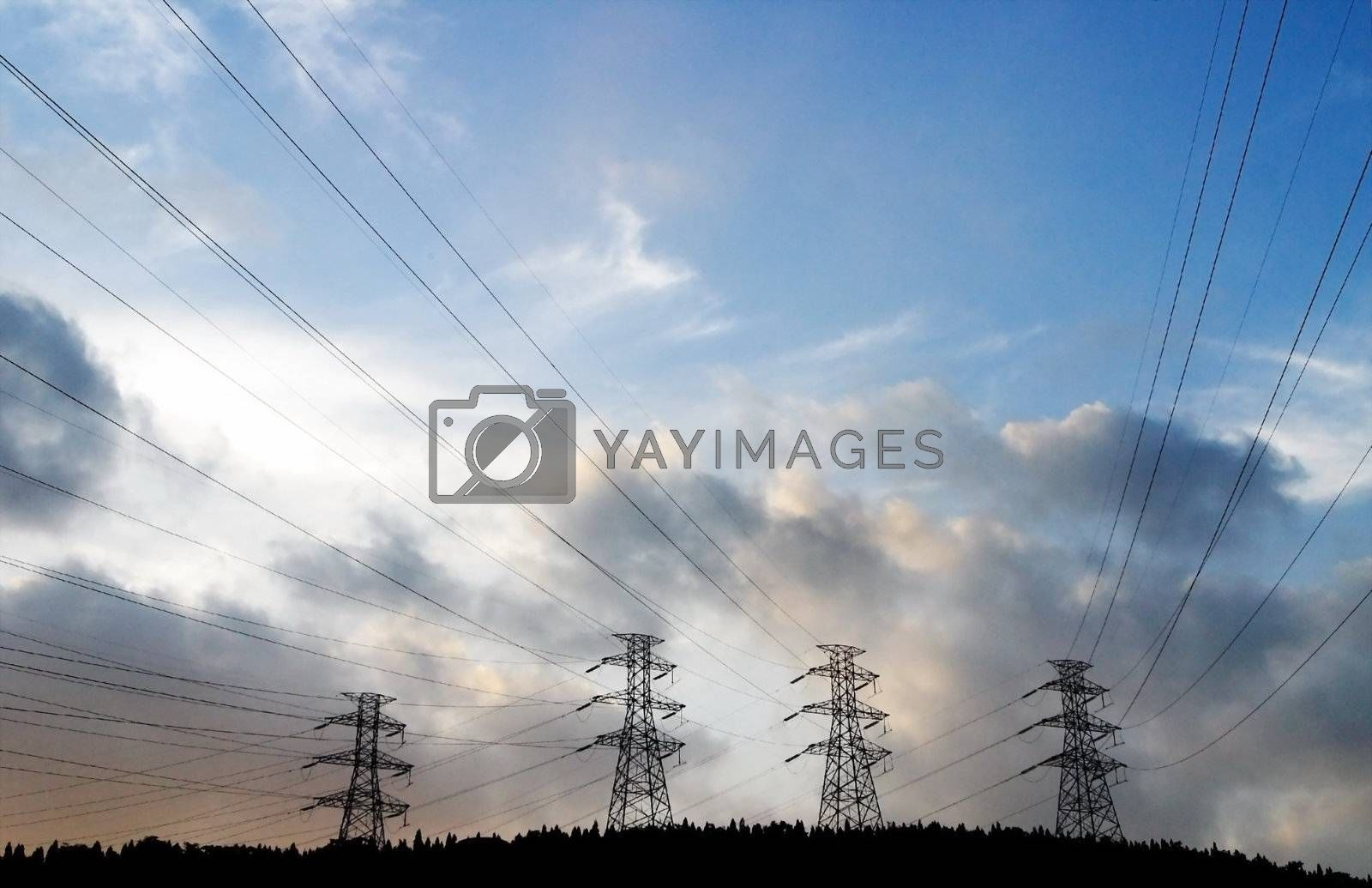 Royalty free image of  Scenery, tower, sky, electric power, electric wire, electric transmission,  by xps