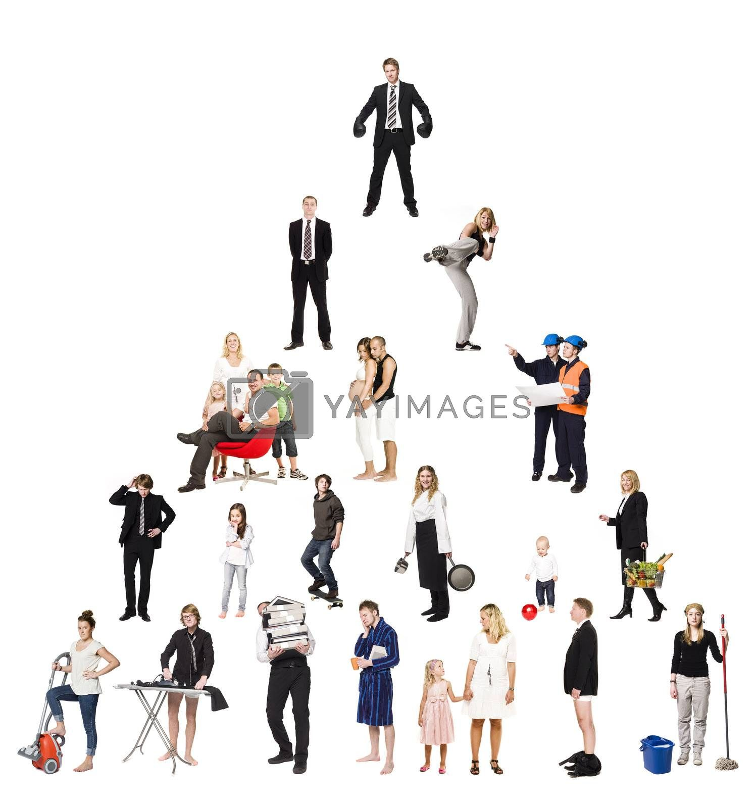 Royalty free image of Pyramid of Real People by gemenacom