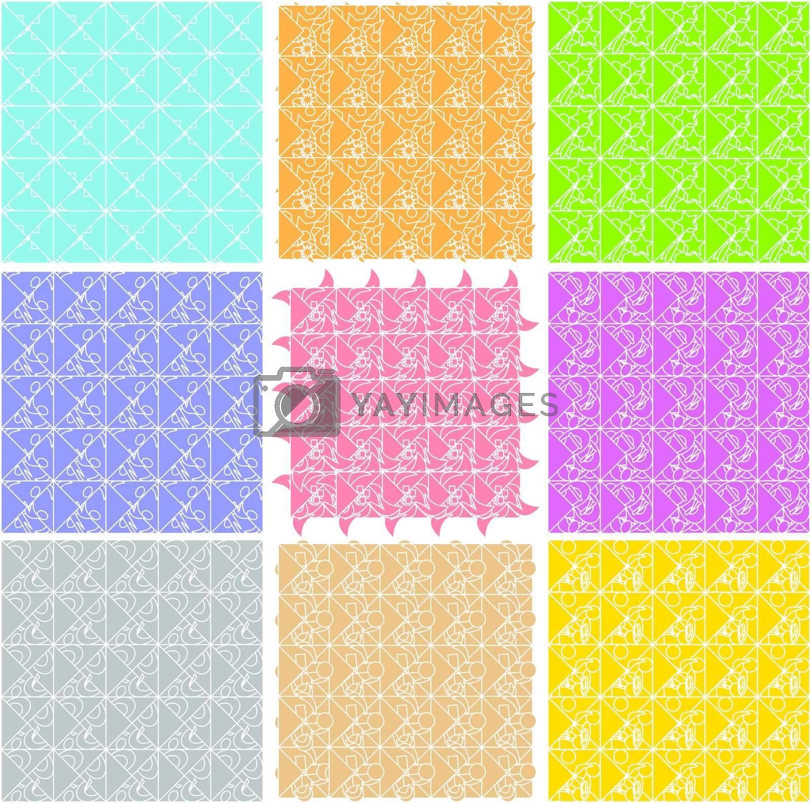 Set of elegant retro seamless patterns wallpaper background