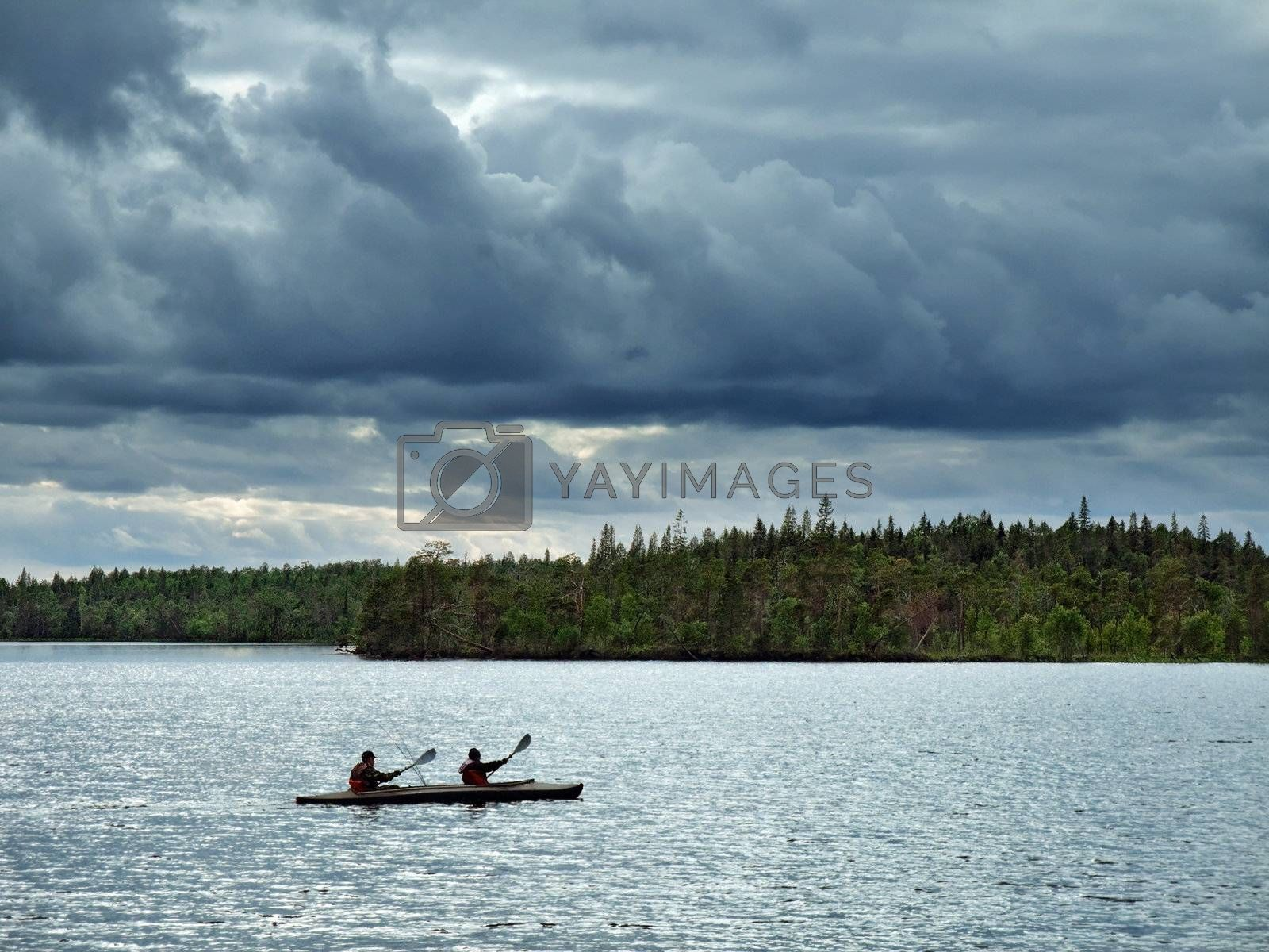 canoe travel on lake at light northern night