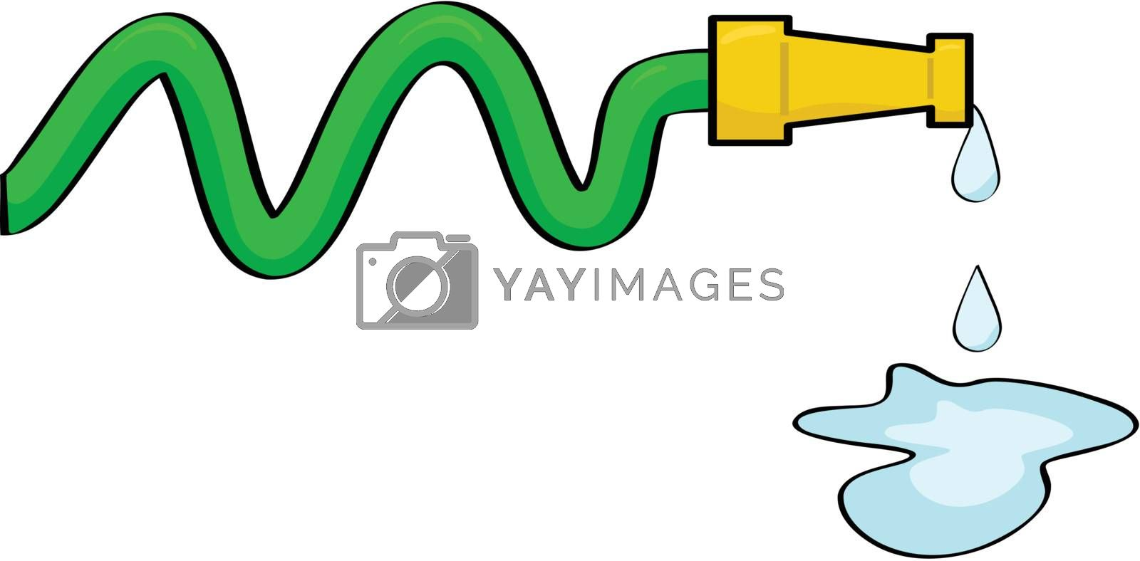 Cartoon illustration of a hose dripping some water