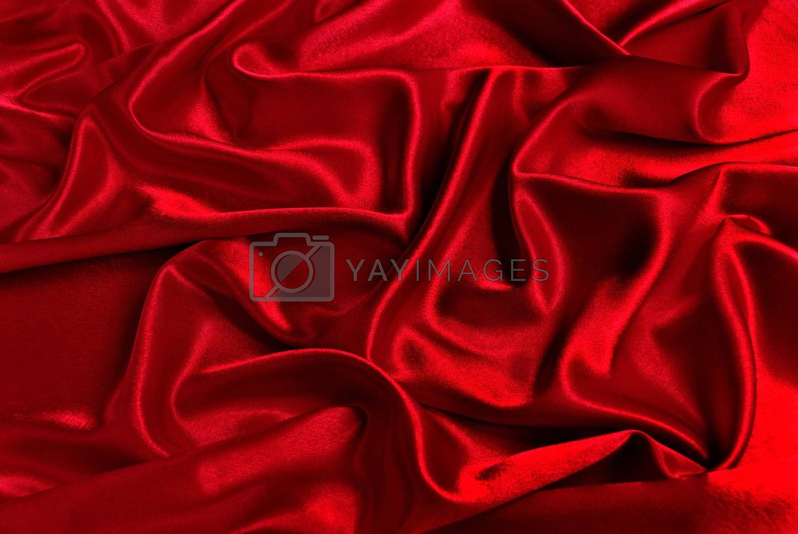 Red satin with a folds