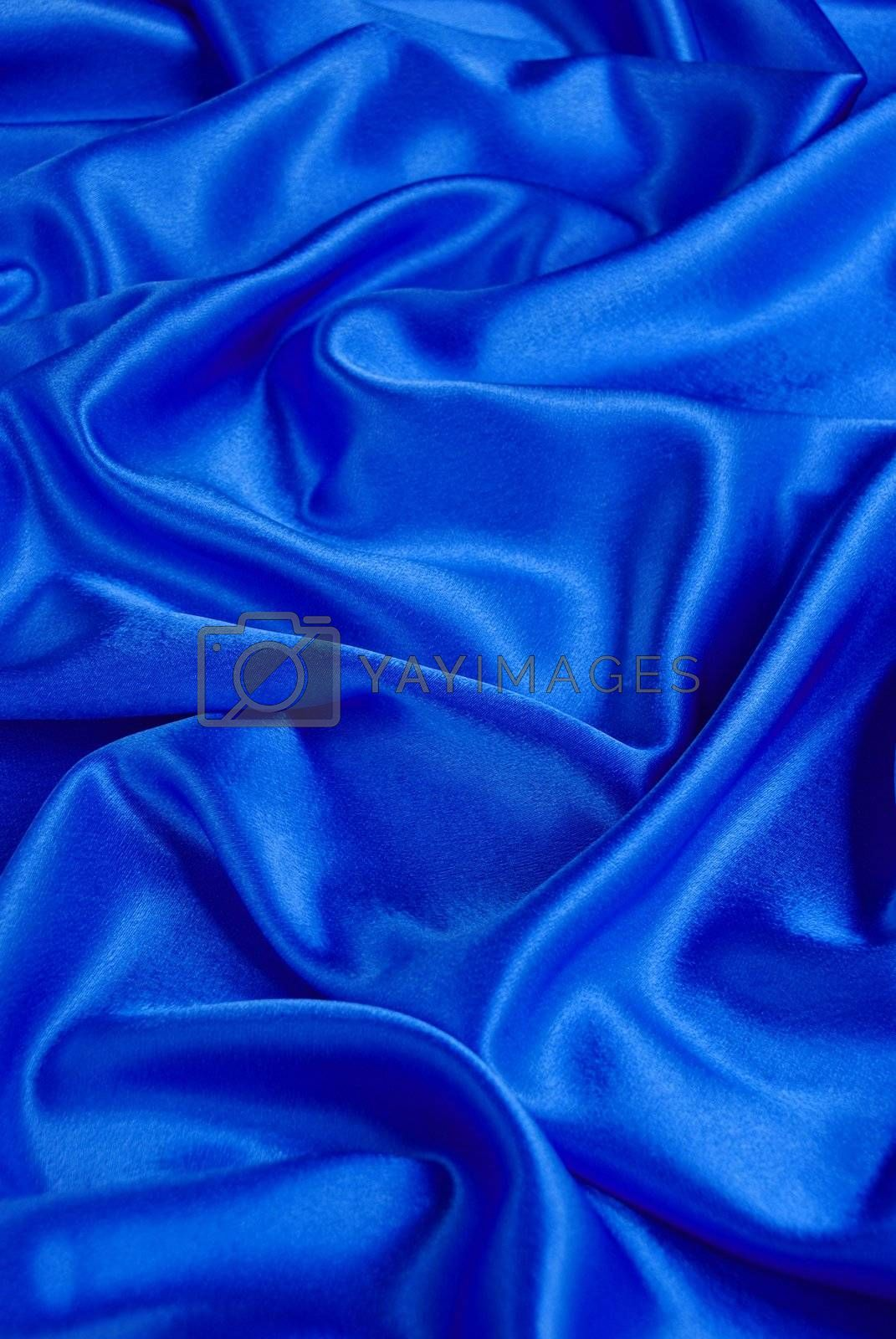 Blue satin with a folds