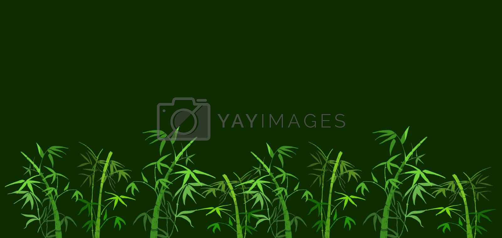 On green background the branches of bamboo