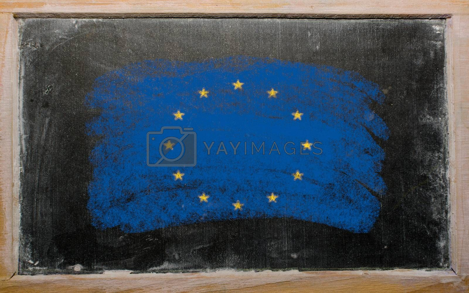 Chalky european union flag painted with color chalk on old blackboard
