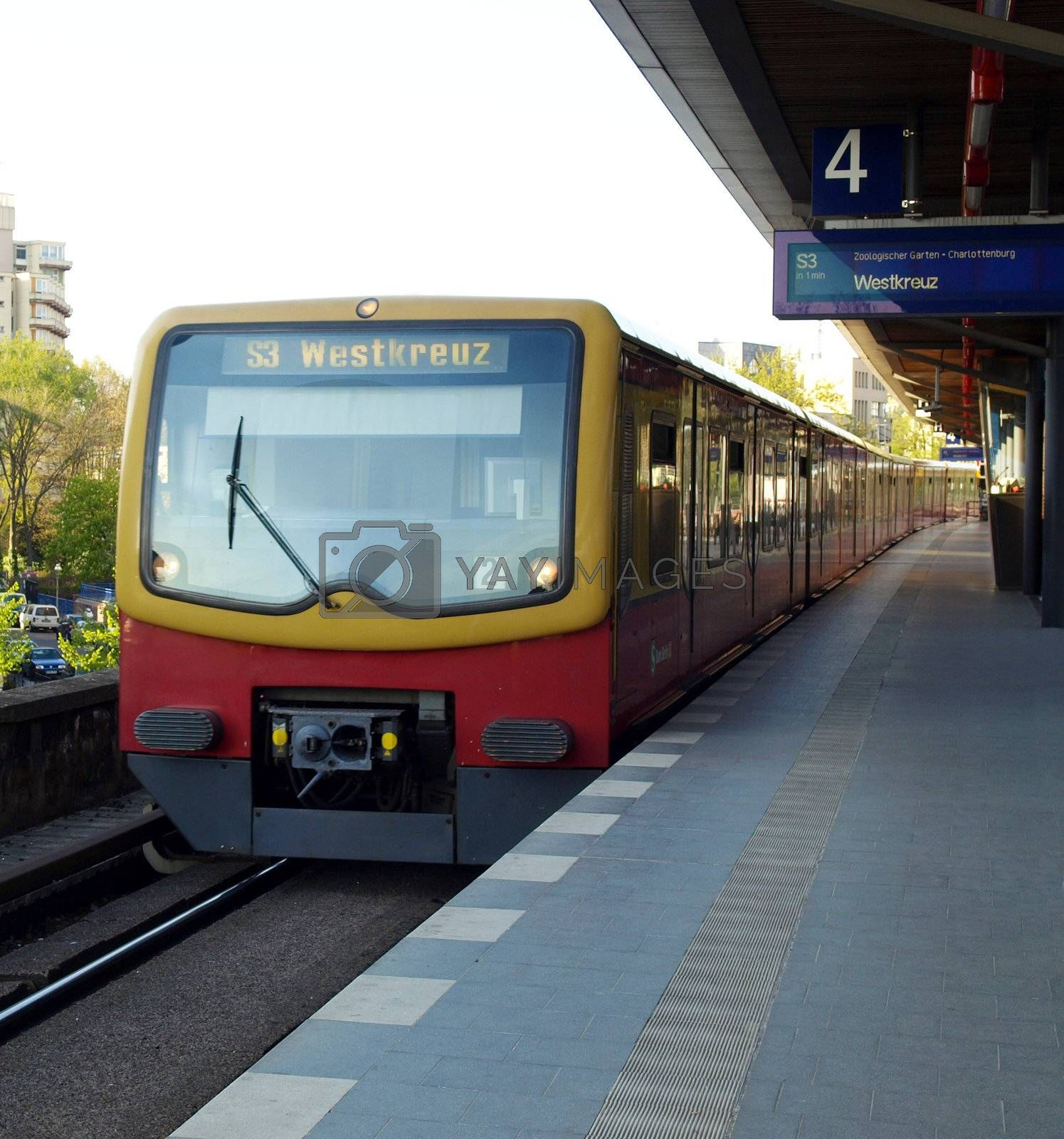 An underground subway metro tube train for public transport