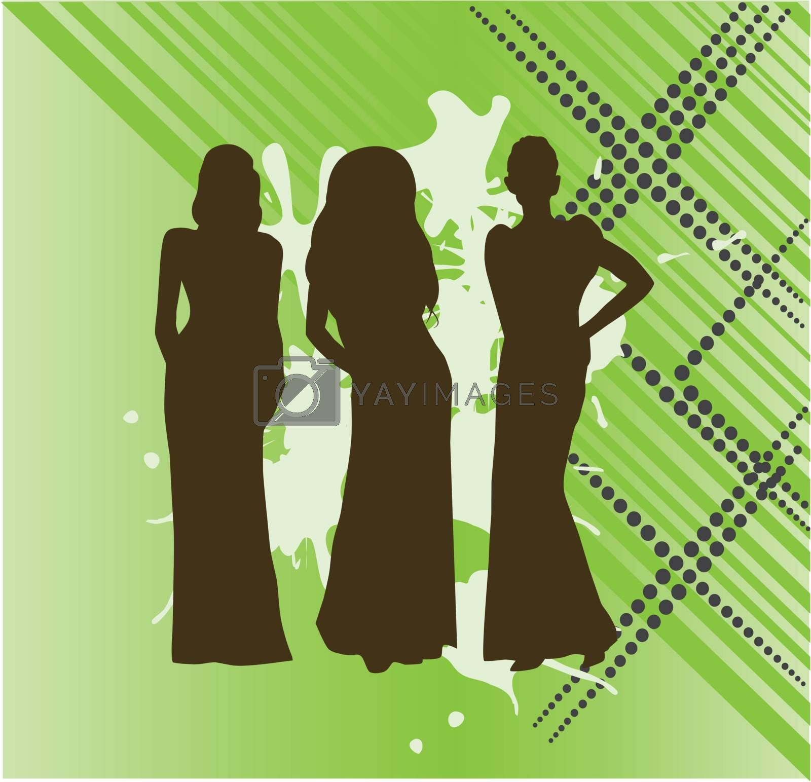 Vector illustration of silhouettes of women