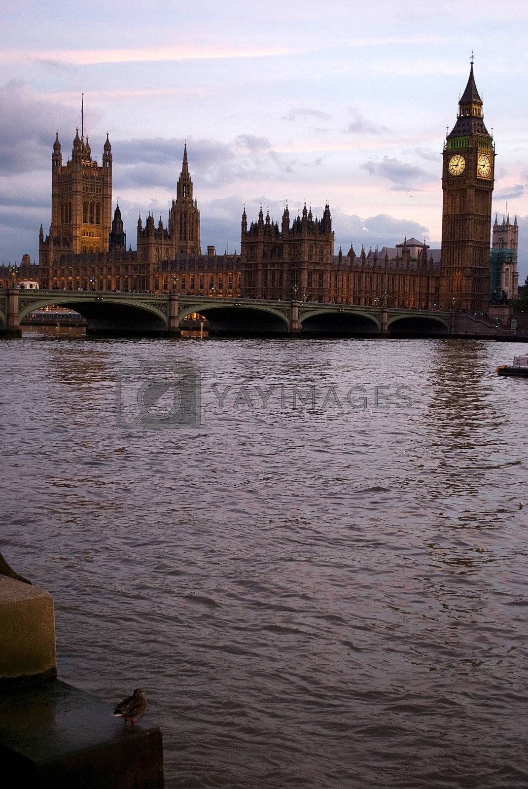 Big Ben and Parliament at sunset light