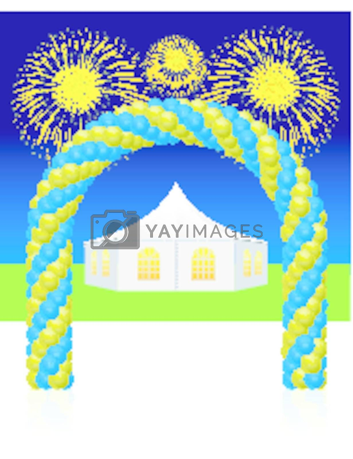 White wedding or entertainment tent with balloon and fireworks