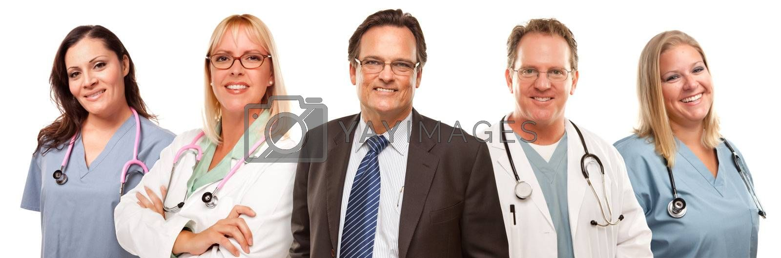 Businessman with Doctors or Nurses Behind Isolated on a White Background.
