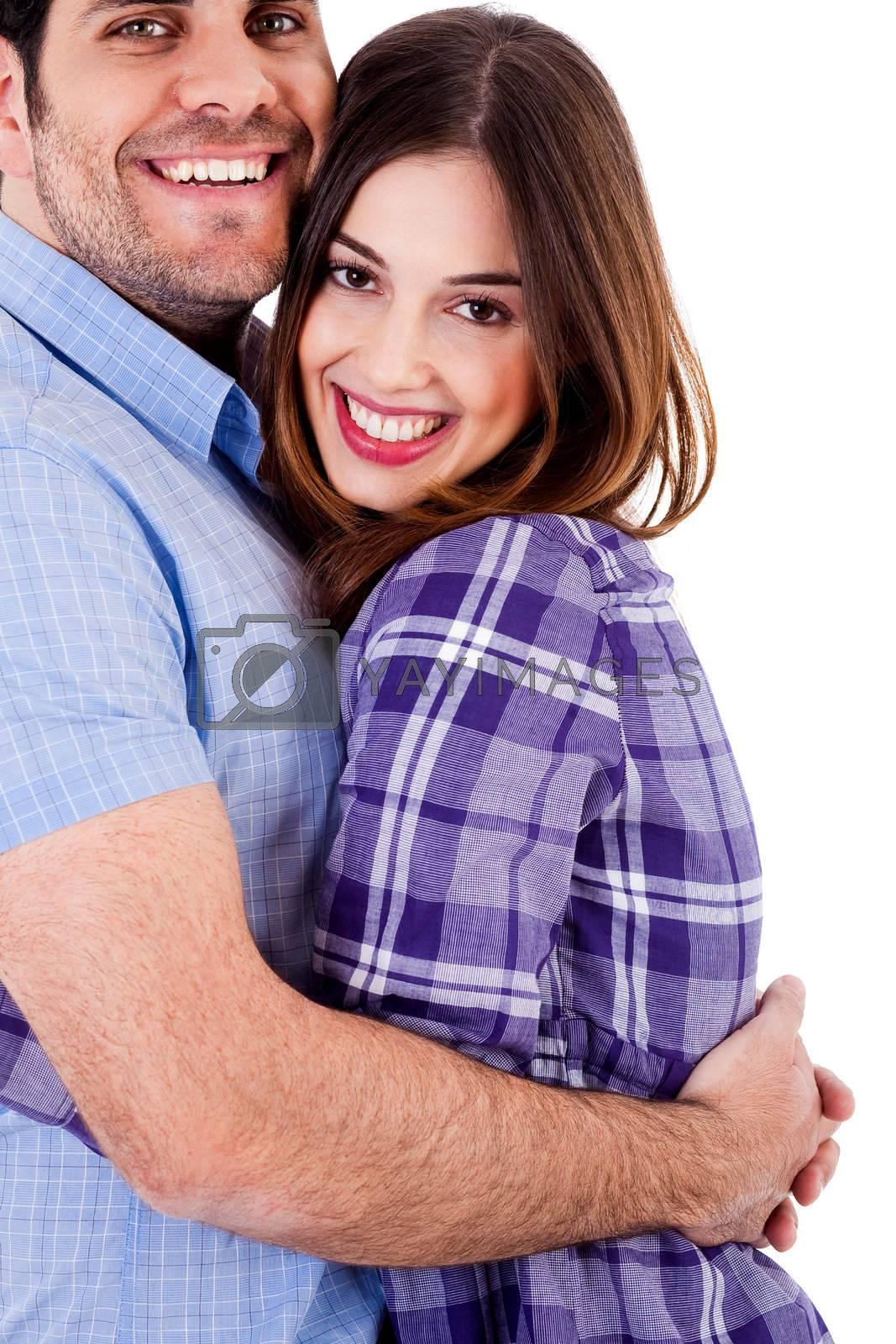 closeup view of young man hugging woman