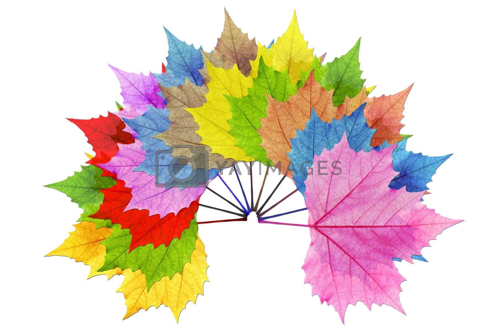 Overlay multiple leaf color with a white background to make the leaves stand out.