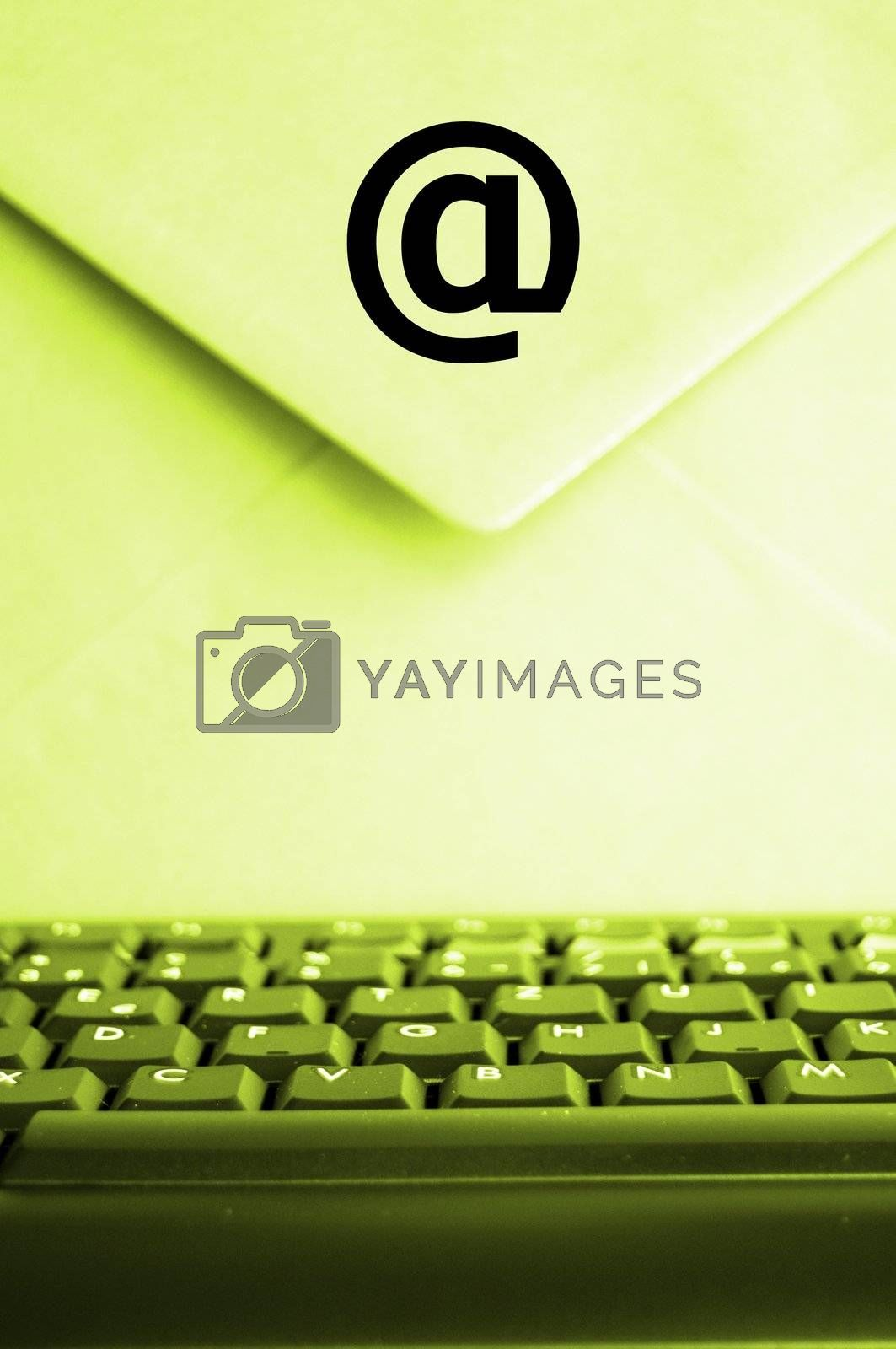 email concept with envelop computer keyboard and copyspace
