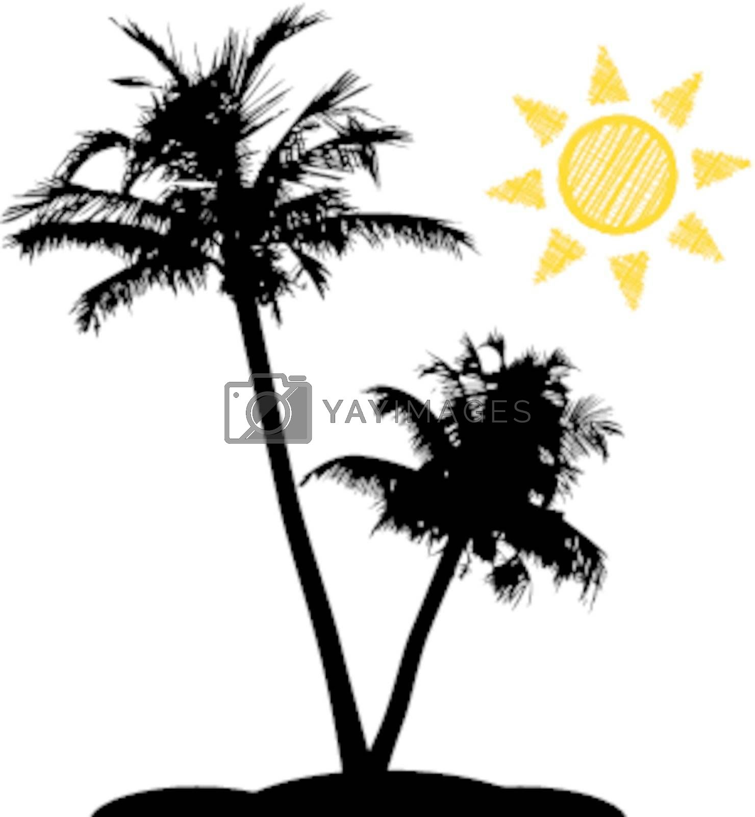 Palm trees with sun on white background