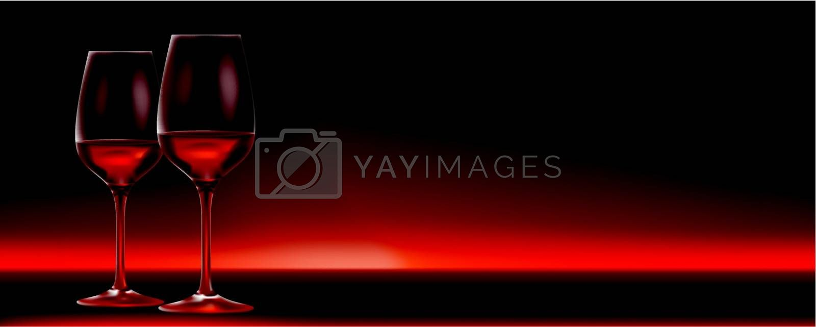 Vector Red Wine For Two Banner With Lots Of Copy Space Royalty Free Stock Image Yayimages Royalty Free Stock Photos And Vectors