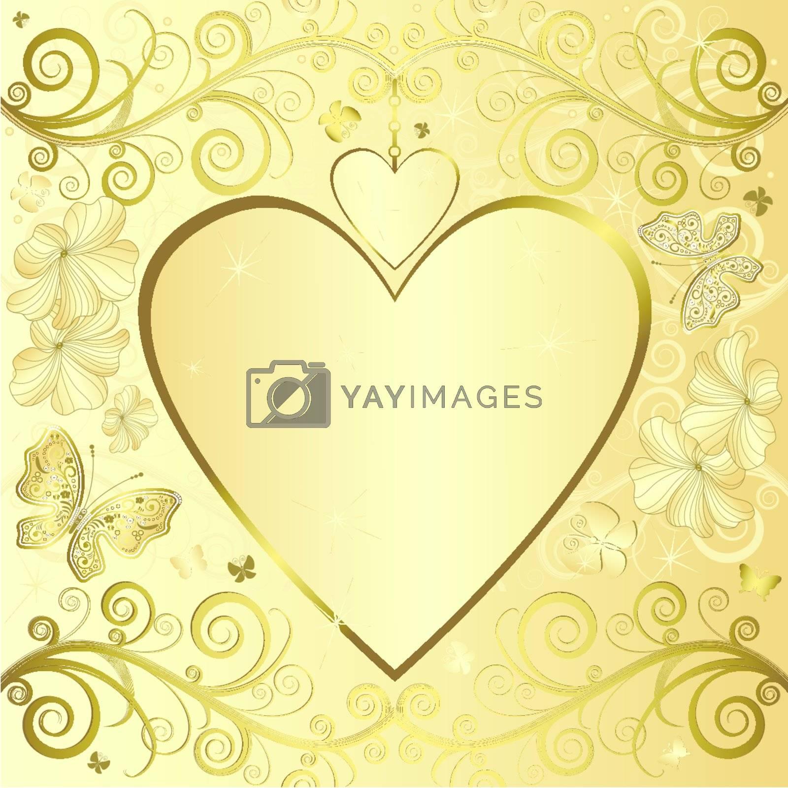 Valentine elegant golden floral frame with hearts (vector)