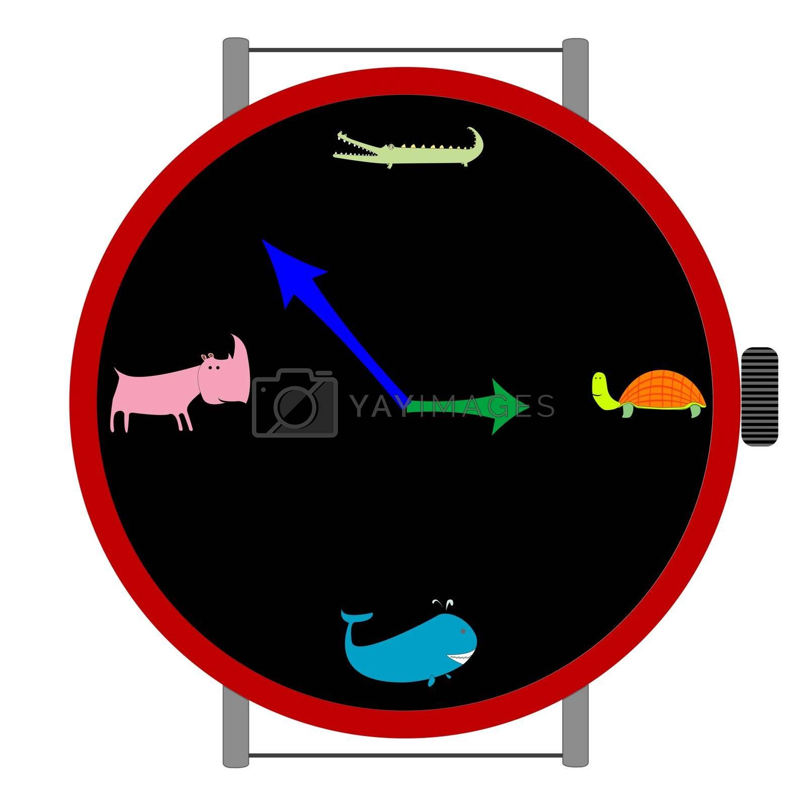 clock with animals, vector art illustration