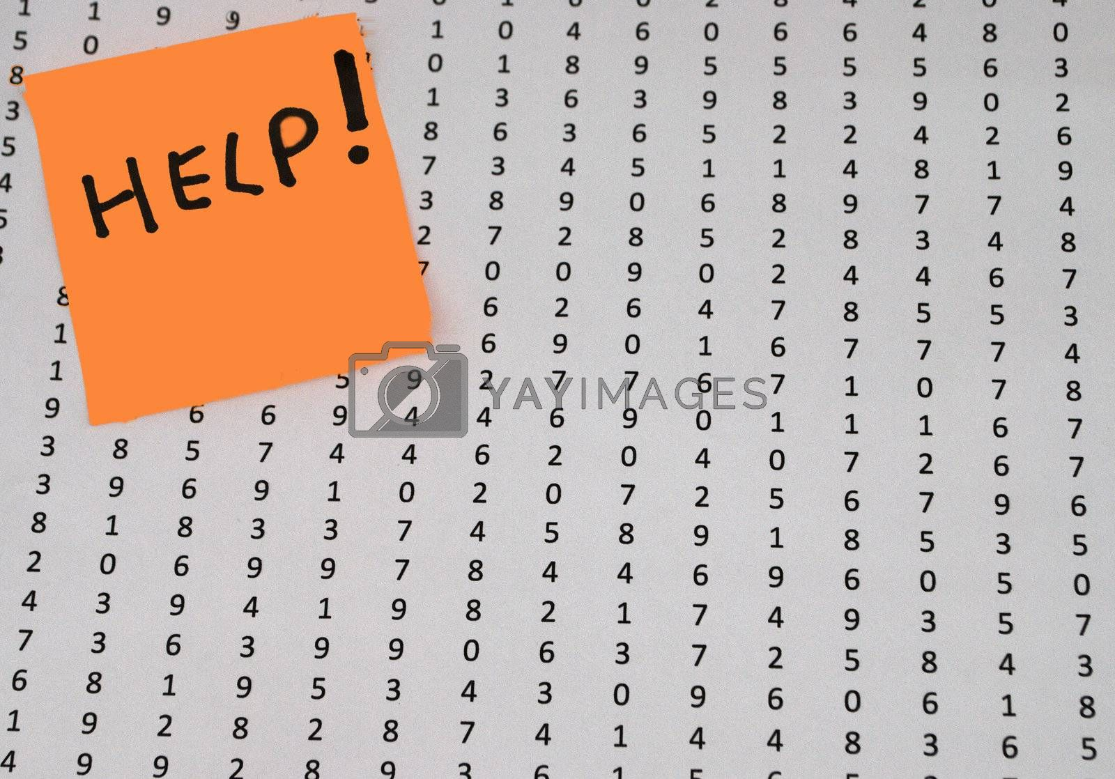 Lots of random digits with help post it
