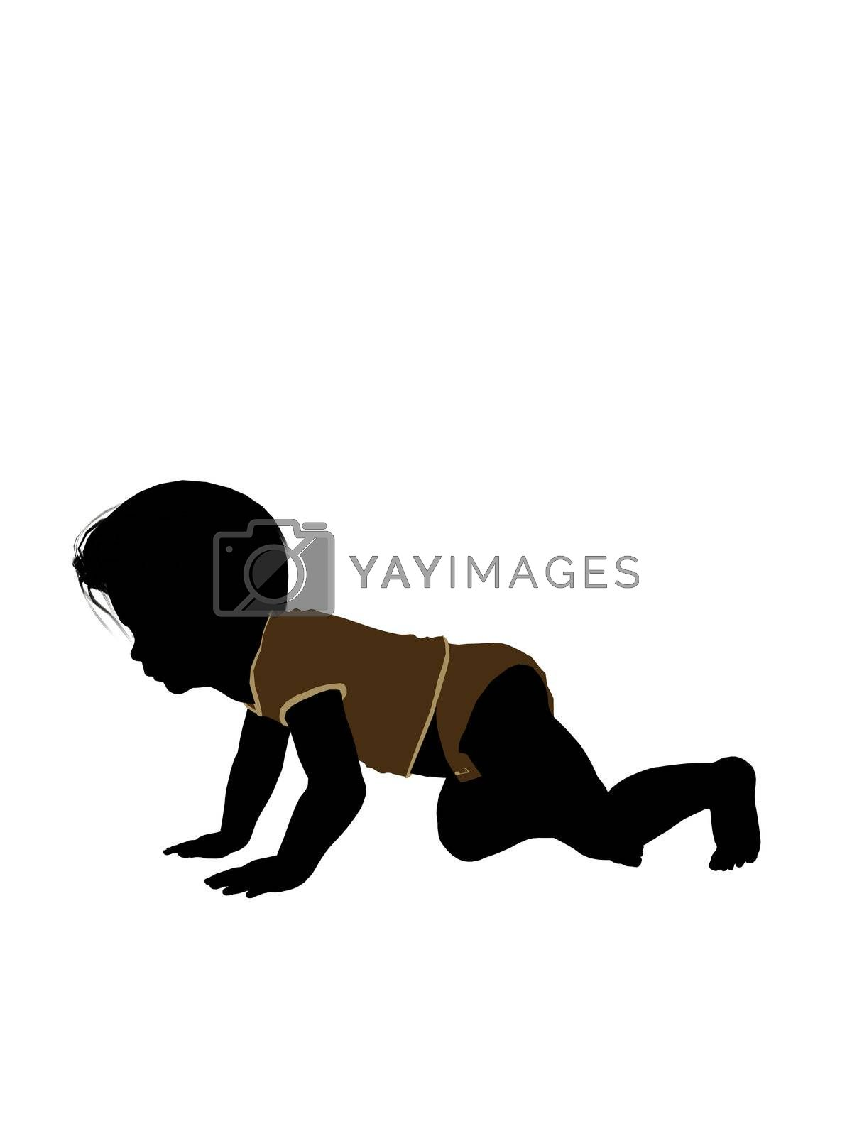 Male infant toddler silhouette on a white background