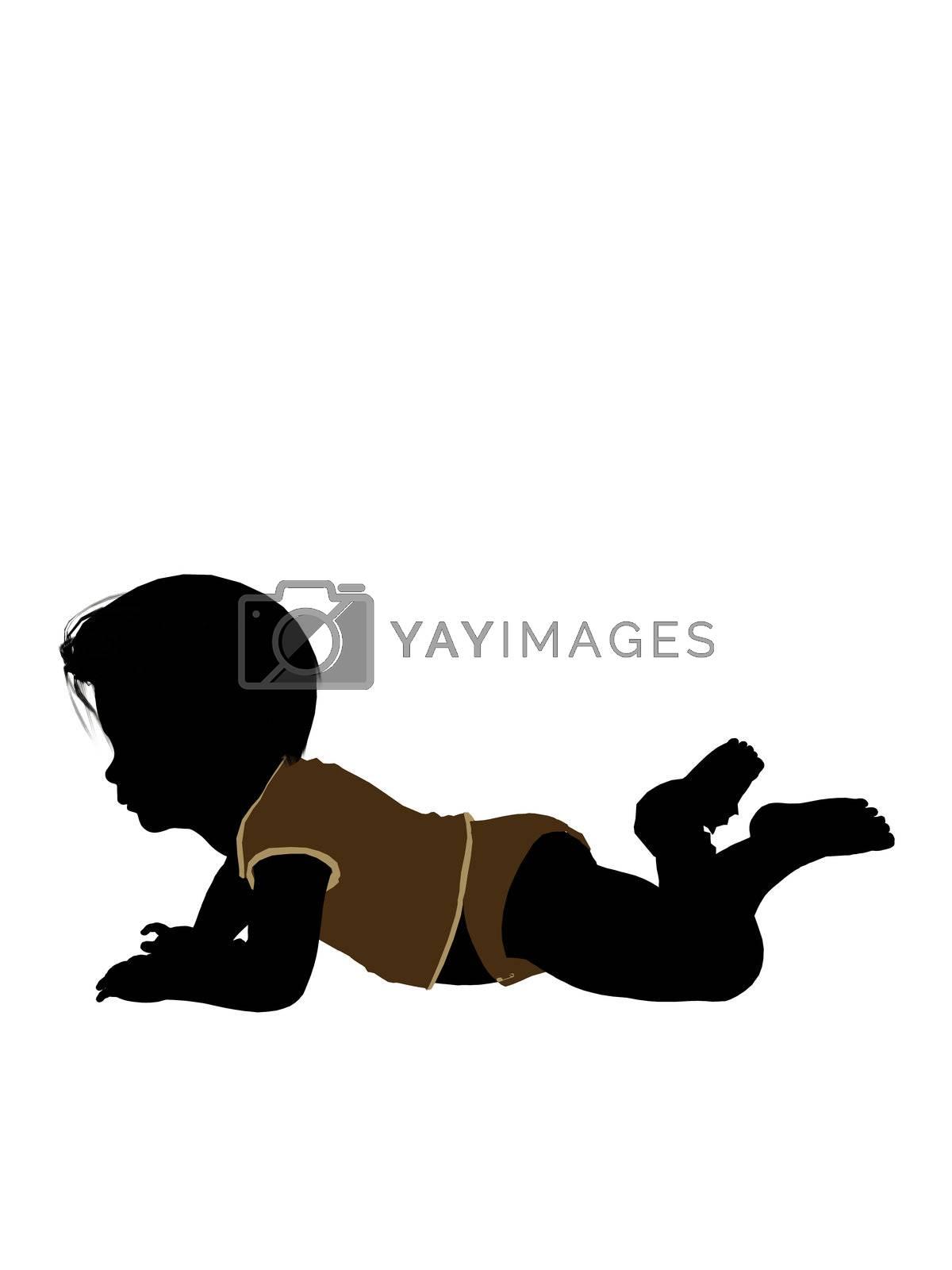 Male Infant Toddler Illustration Silhouette by kathygold