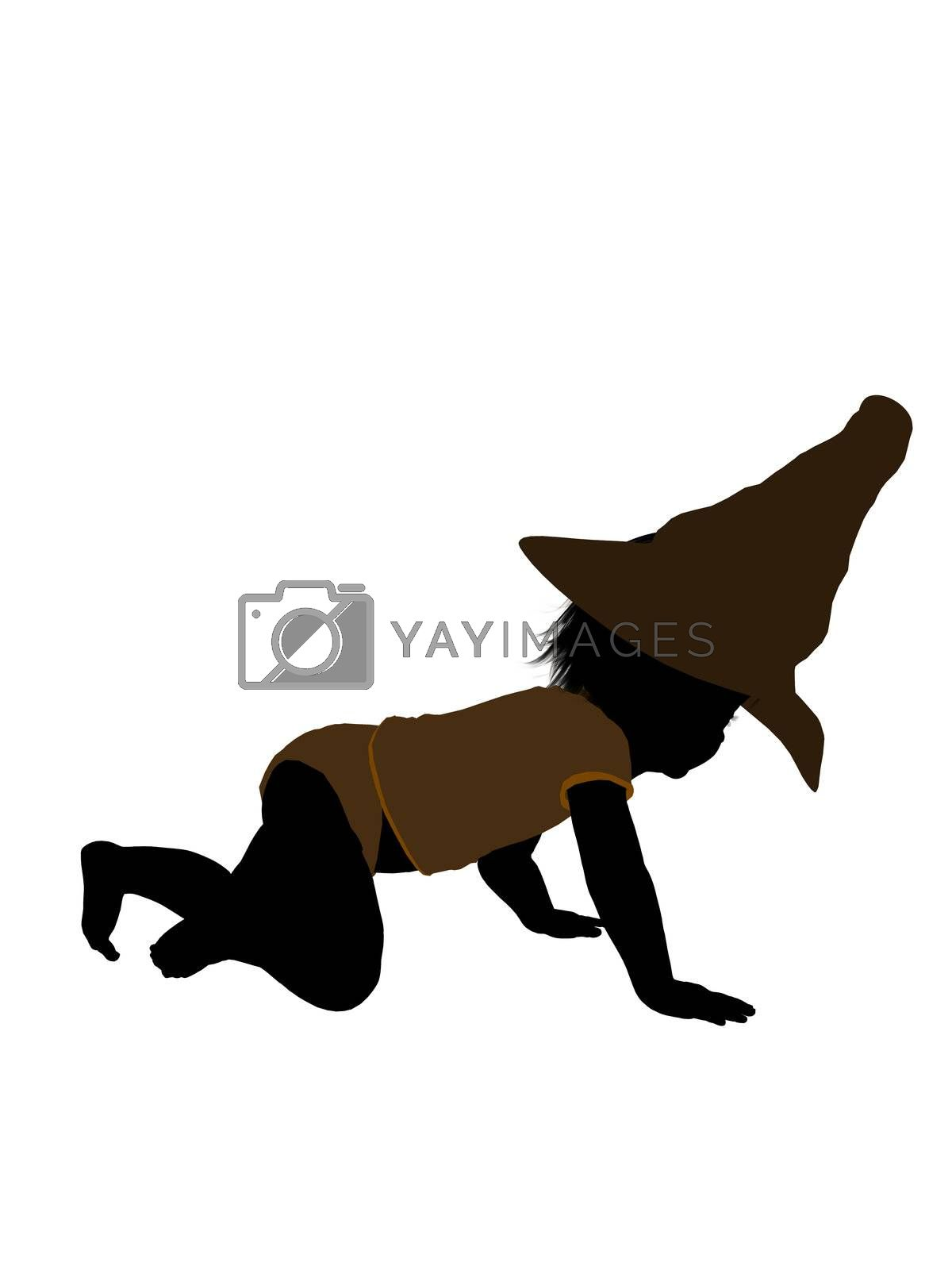 Male halloween infant toddler silhouette on a white background