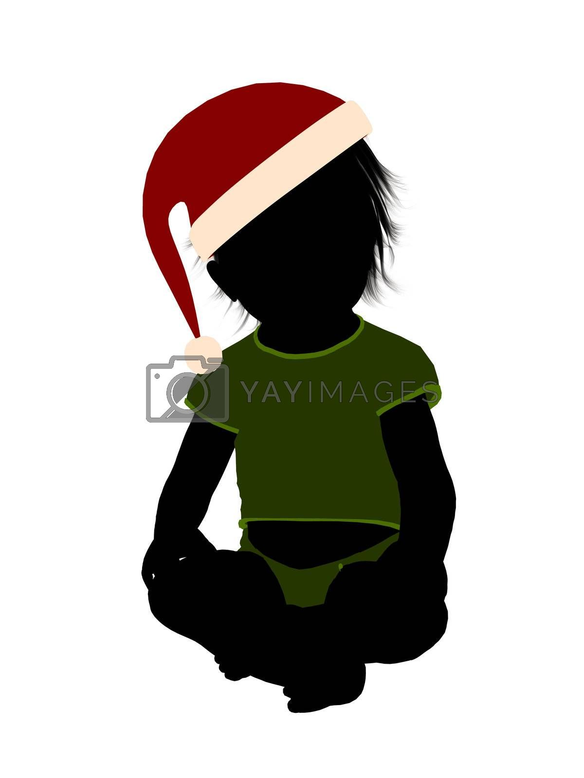 Male christmas infant toddler silhouette on a white background