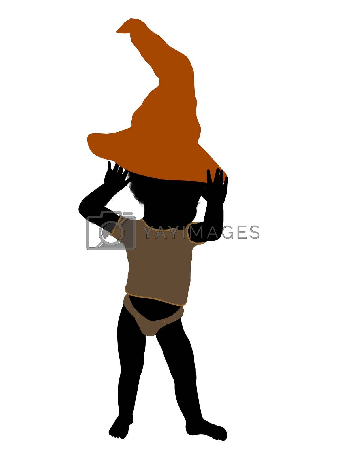 African american halloween infant toddler silhouette on a white background