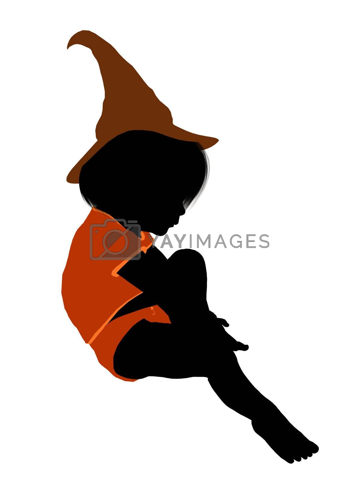Female halloween infant toddler silhouette on a white background