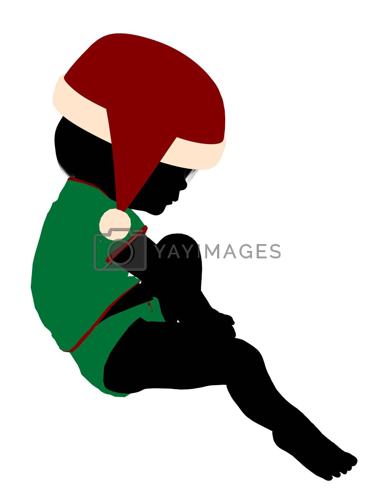 Female christmas infant toddler silhouette on a white background
