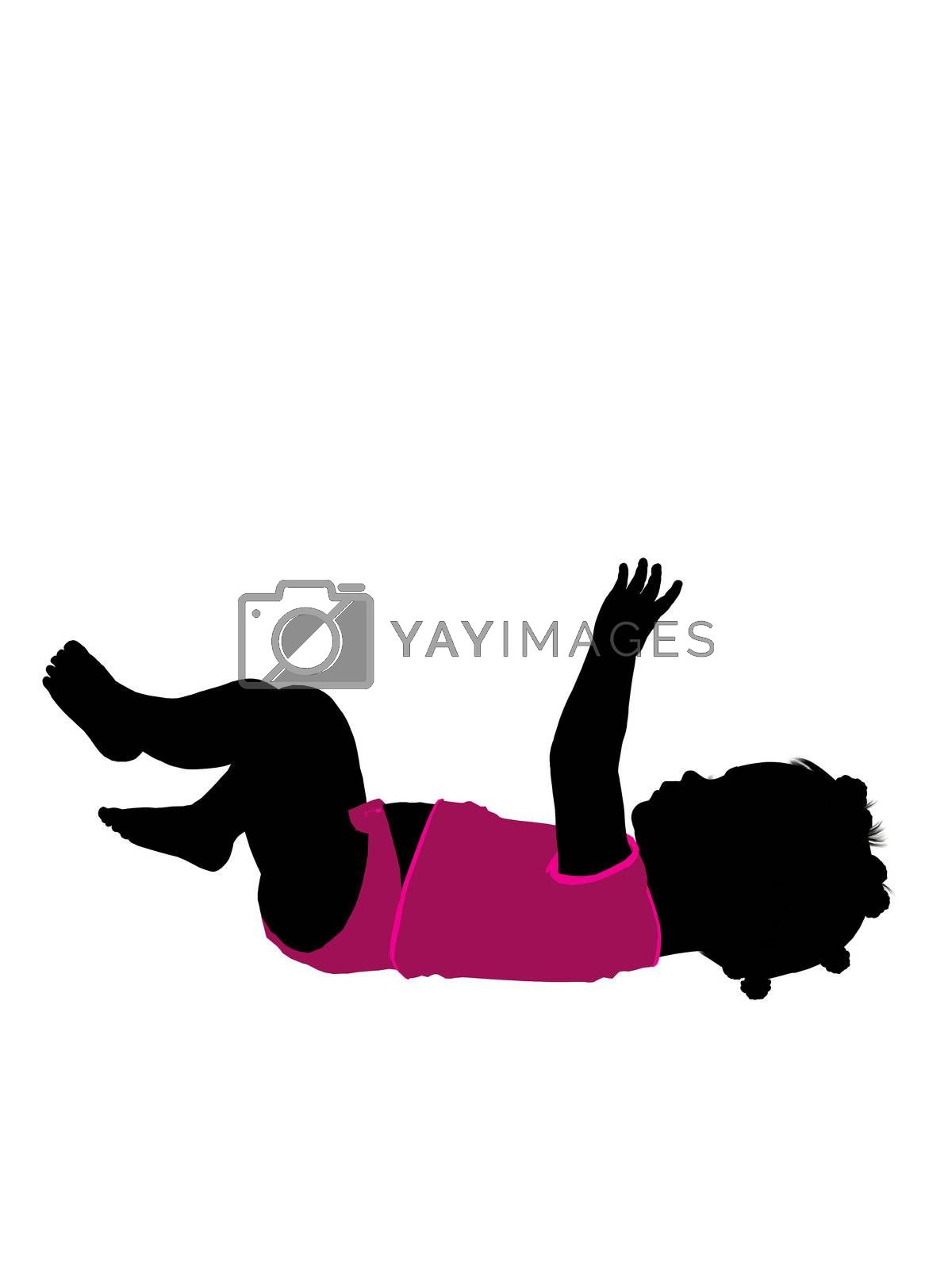 African american female infant toddler silhouette on a white background