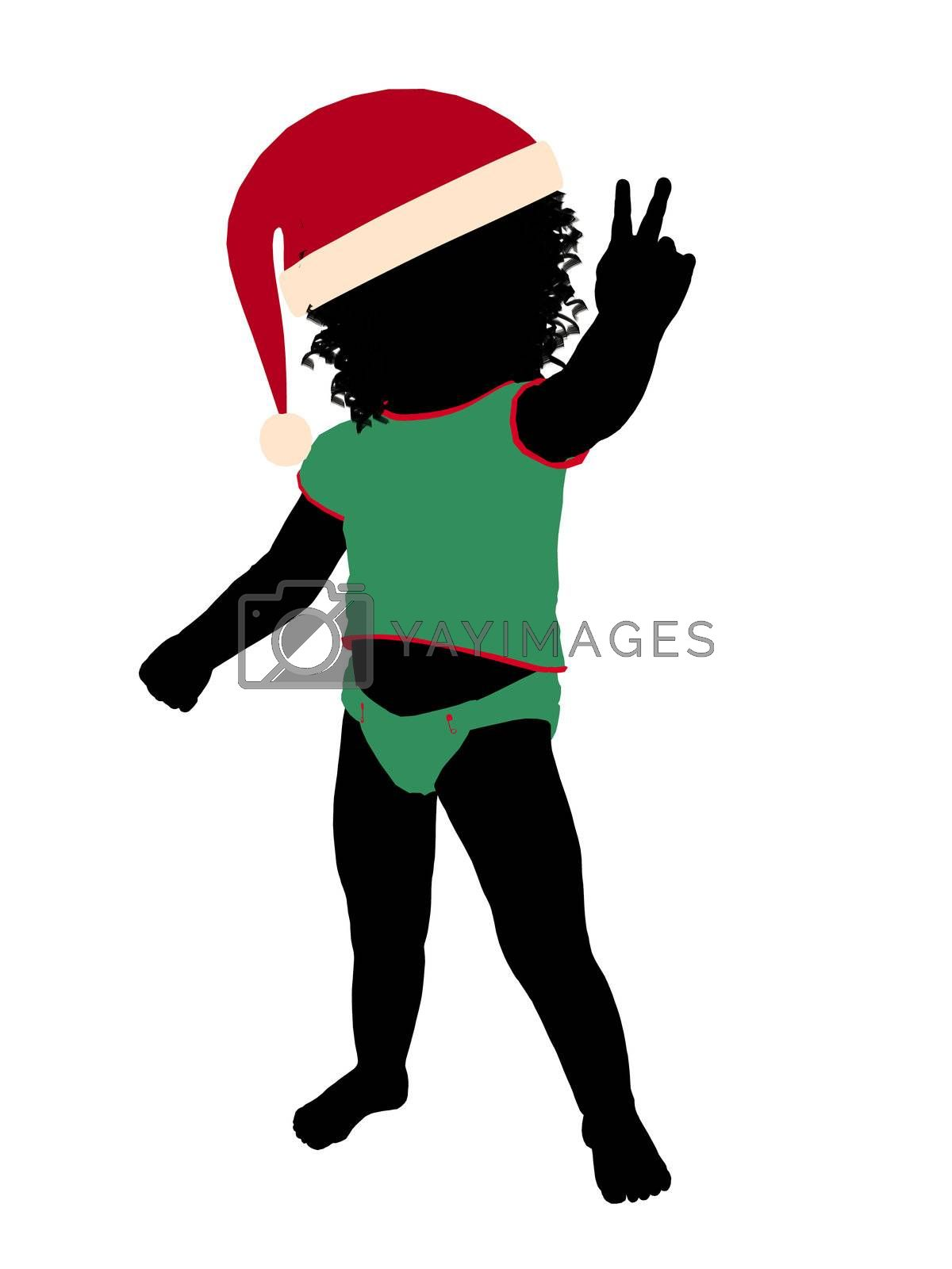 African ameircan female christmas infant toddler silhouette on a white background