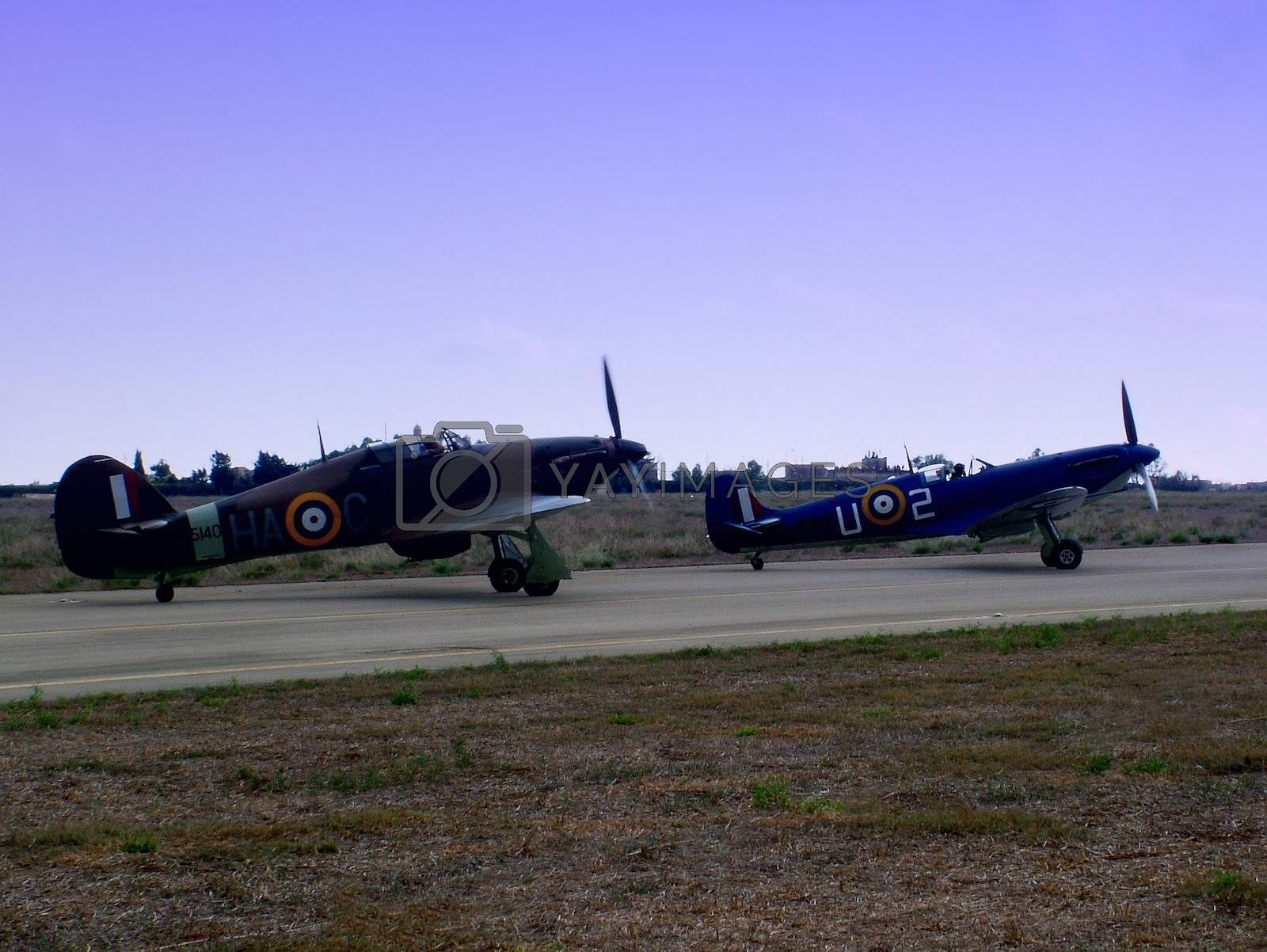 The famous WWII Spitfire and Hurricane airplanes